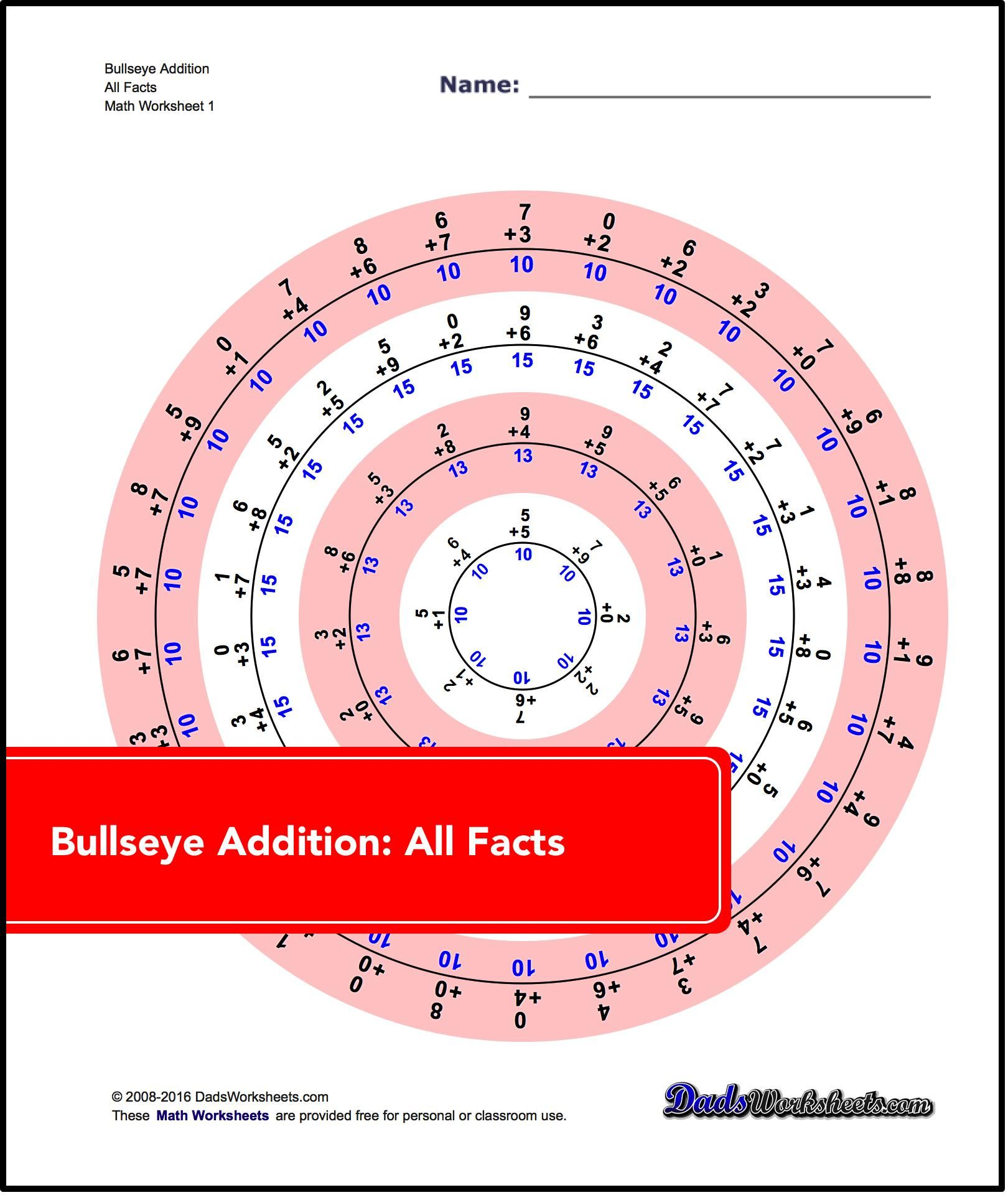 Addition Worksheets Bullseye Addition