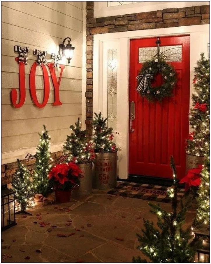 34+ Diy front door christmas decorations ideas