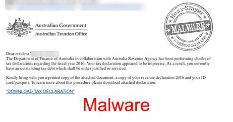 """""""Official Tax Declaration"""" Email Links to Malware"""