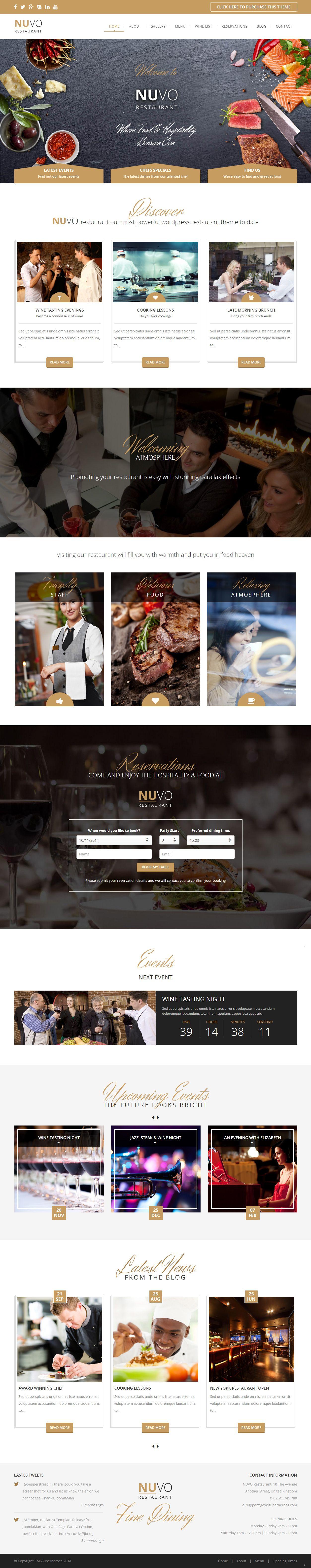 NUVO is Premium Responsive WordPress Restaurant Template. Parallax ...