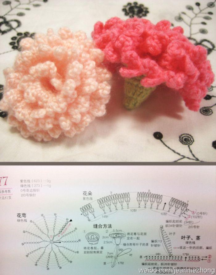 Comparte ganchillo Claveles Gráfico | Crochet Flowers _ وردات كروشيه ...