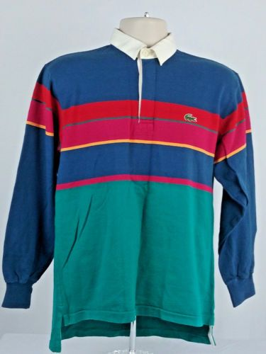 38b1a0fa2 IZOD-Lacoste-Mens-Medium-M-Vintage-Long-Sleeve-Rugby-Polo-Shirt -Gator-Striped