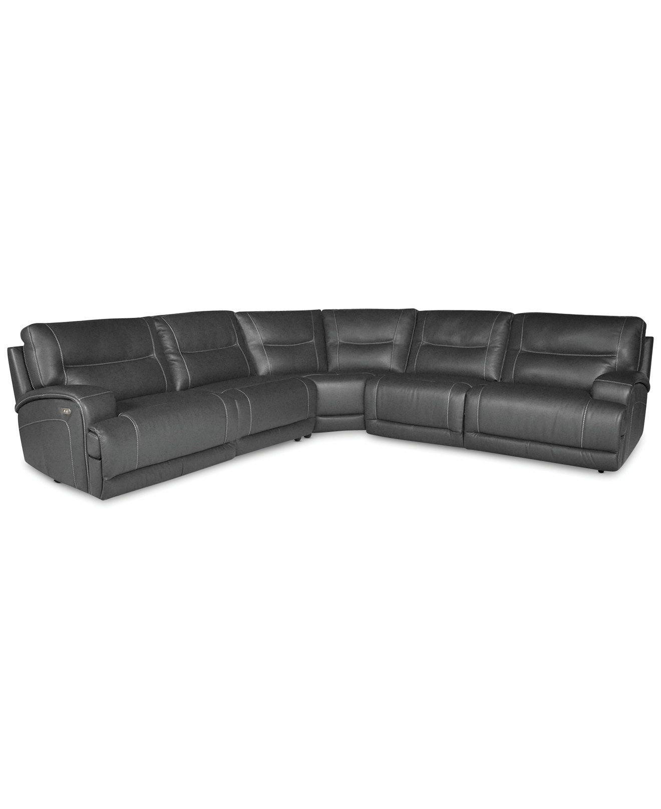 121x121 Caruso Leather 5 Piece Power Motion Sectional Sofa