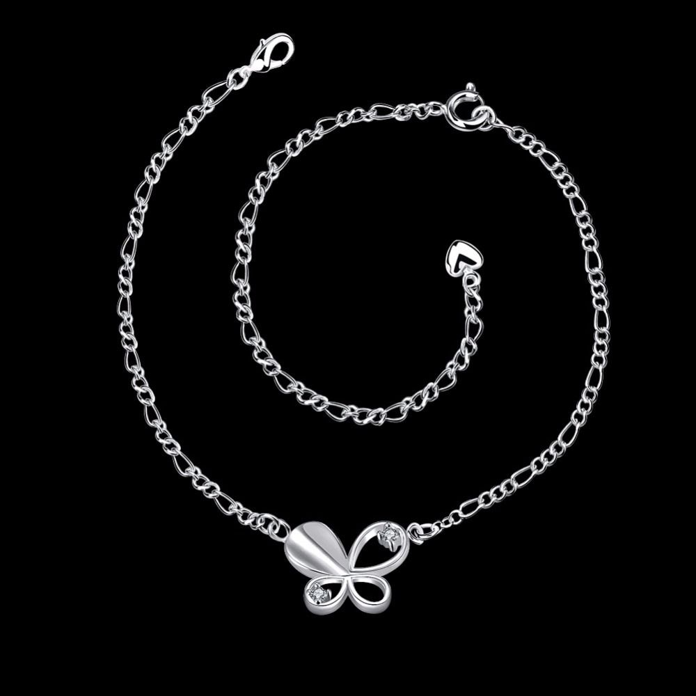 Summer jewelry silver plated foot anklets for women butterfly