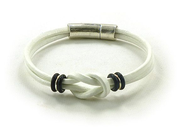 White Mini Celtic Infinity Love Knot Leather by siriousdesign