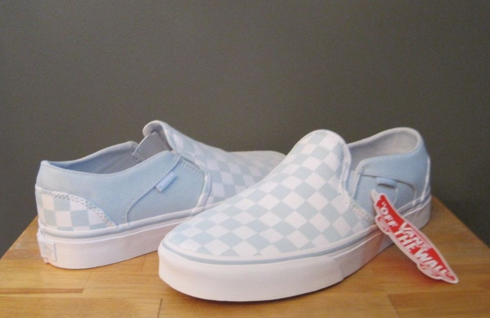 Vans Women Checkerboard Baby Blue Off White Asher Slip On