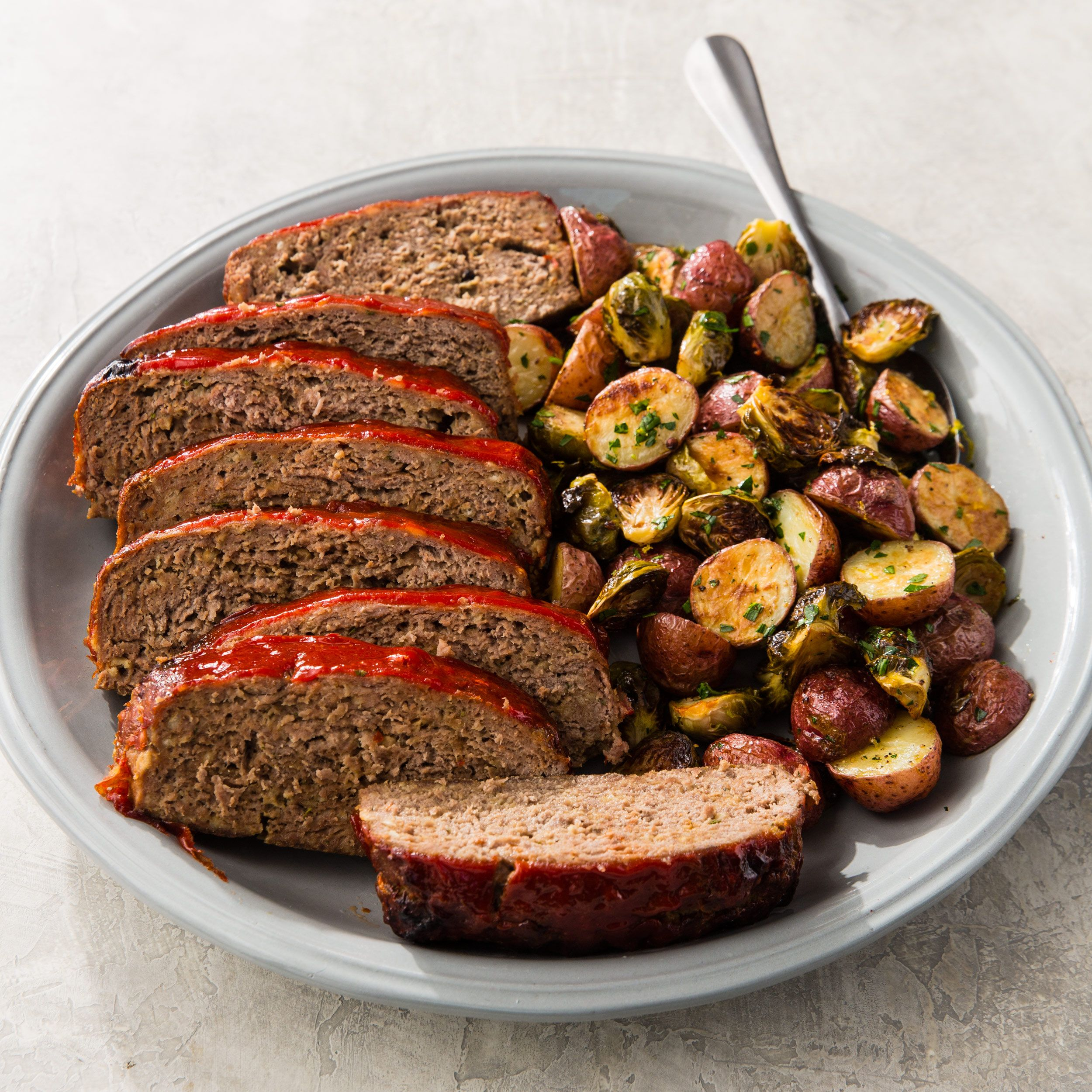 One Pan Meatloaf With Potatoes And Brussels Sprouts Cook S Country Recipe Meatloaf Recipes Classic Meatloaf Entree Recipes