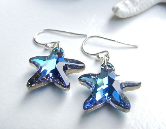 Sterling Silver Tropical Blue Starfish Earrings GIVEAWAY. Like Camla fb to win these or other designs on 9/10.