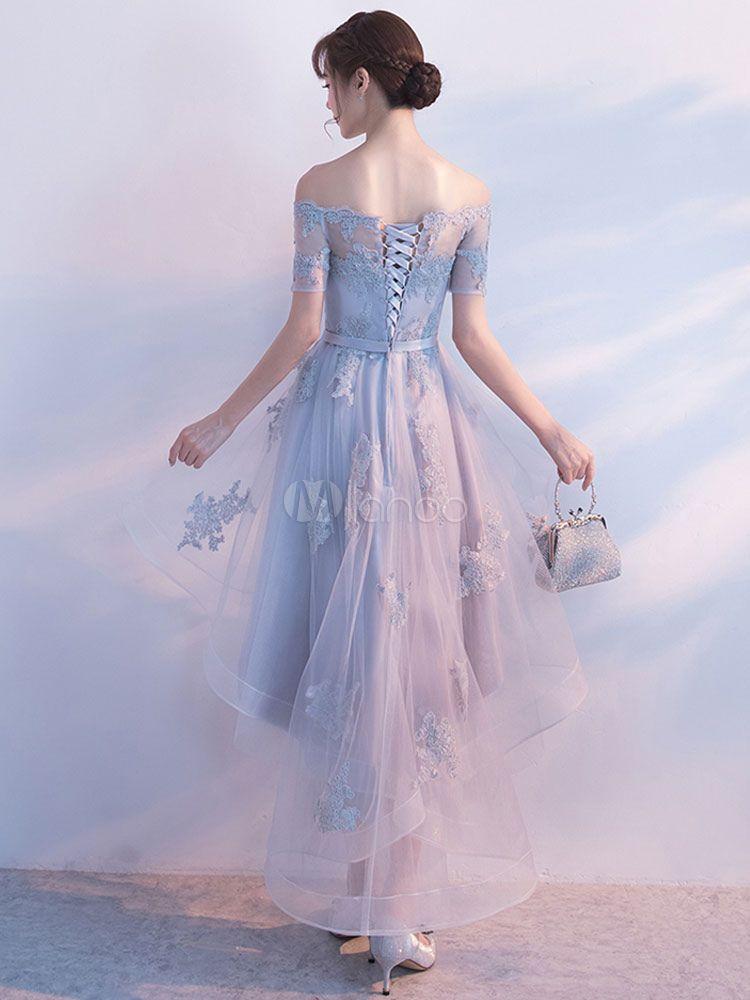 0e33e678e62e Light Grey Prom Dress Off The Shoulder Lace Applique Short Sleeve  Homecoming Dresses Sash A Line High Low Tulle Asymmetrical Party Dresses -  Milanoo.com