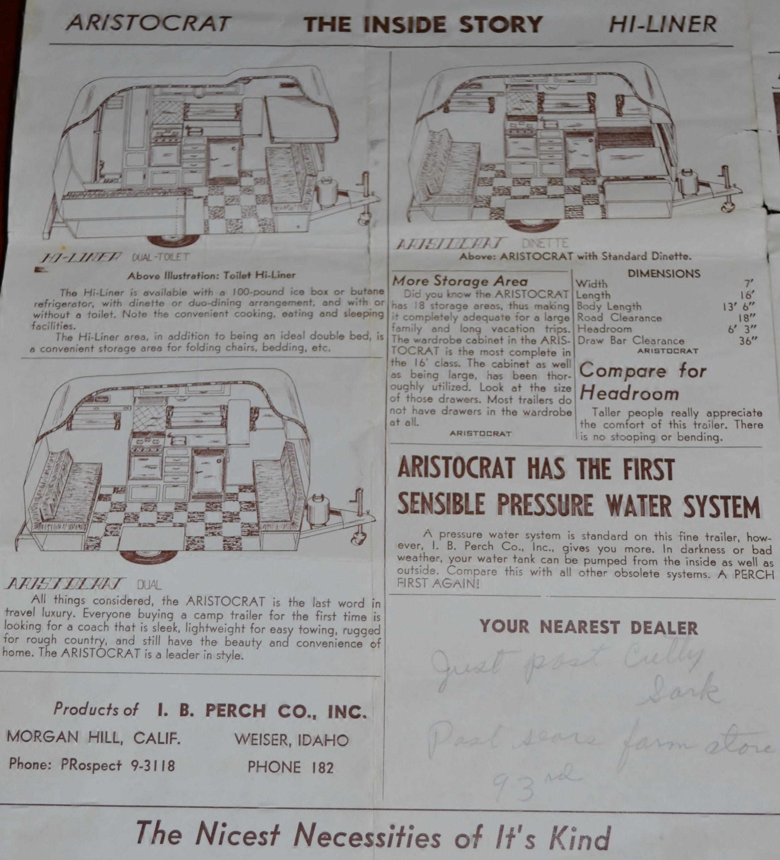 1961 Aristocrat brochure page 2of4 | Hi-Liner | Vintage rv, Vintage on