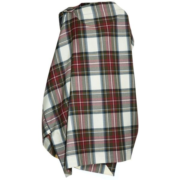 Vivienne Westwood Anglomania Tartan-print sleeveless wool poncho ($266) ❤ liked on Polyvore featuring outerwear, coats, cream multi, woolen poncho, vivienne westwood anglomania, tartan poncho, plaid poncho and cream poncho