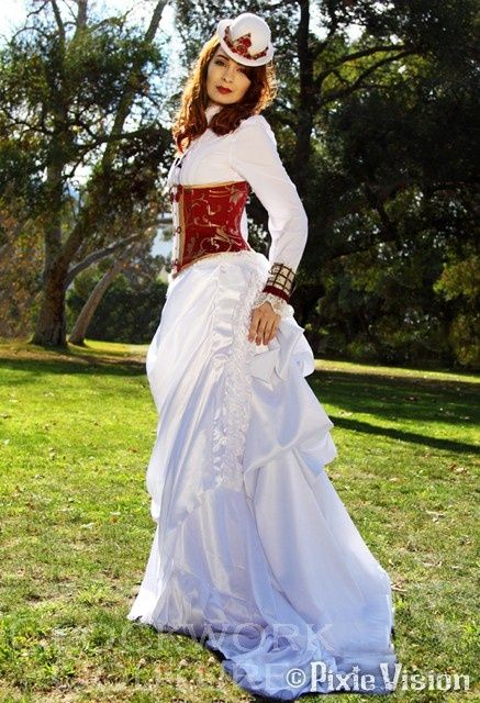 "ranaswashbuckler:  thesassywallflower:  This dress… seriously. I NEED it. Unfortunately the bank balance says ""No way, on this green earth.""  And Felicia Day looks stunning in it. I love that she models for Clockwork Couture."