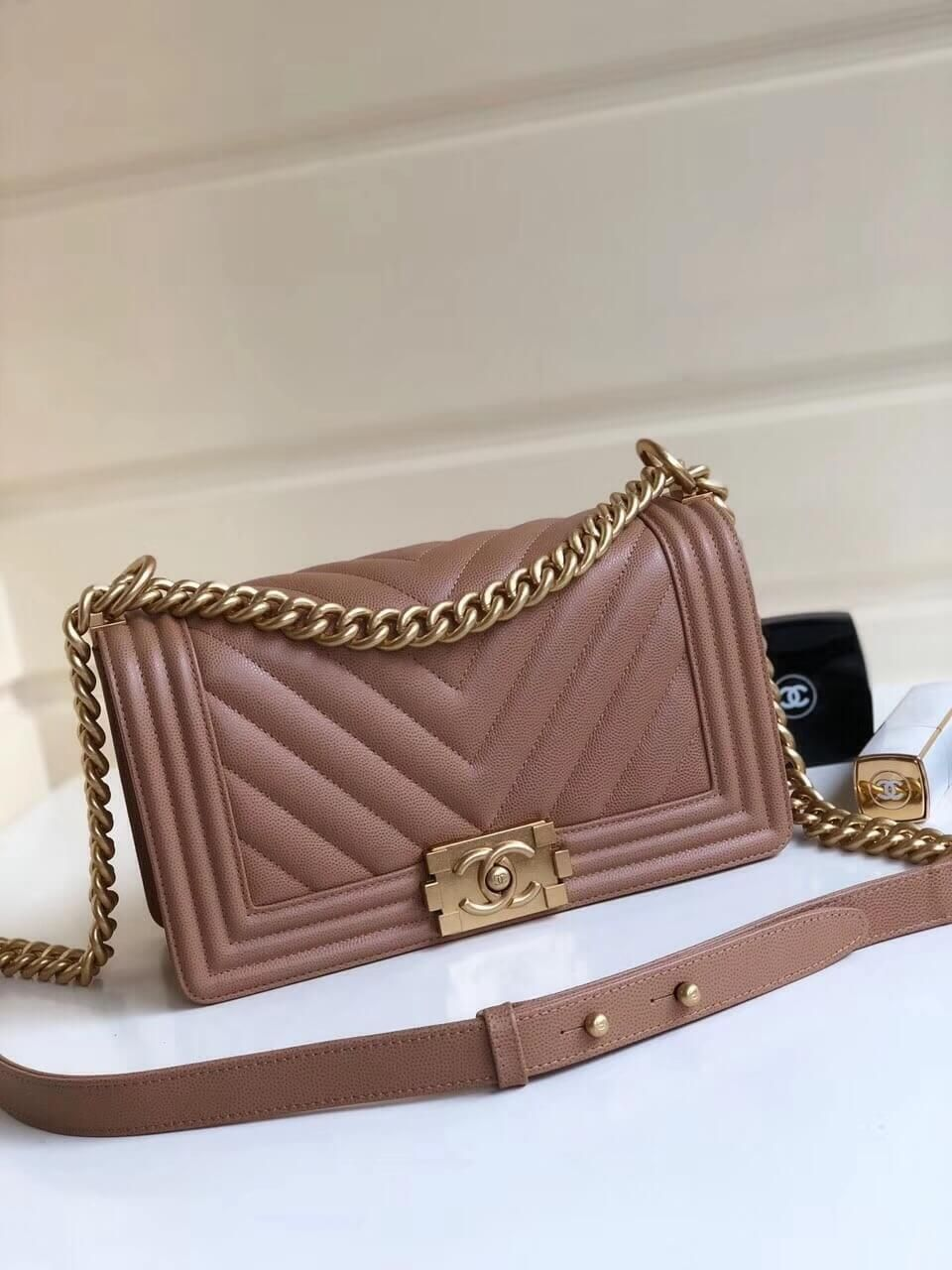 92df12749a227c Chanel Grained Calfskin Medium BOY CHANEL Handbag with Gold-tone Metal  Kahki 2018