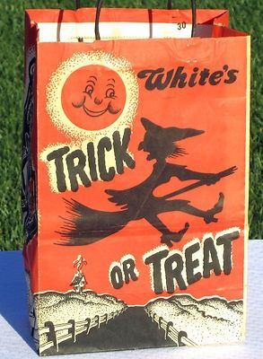 Vintage Whites Witch On Broom Halloween Trick Or Treat Paper Candy Bag