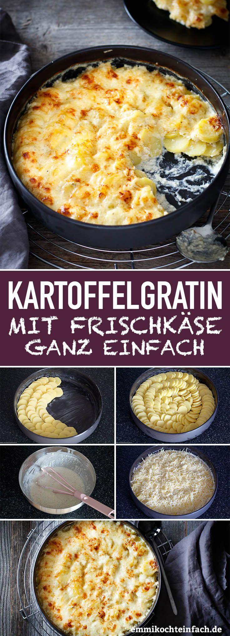 Kartoffelgratin mit Kräuterfrischkäse und Emmentaler #veganerezeptemittag