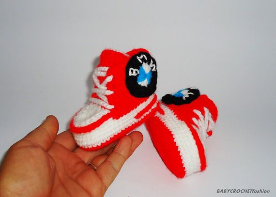 Check out this item in my Etsy shop https://www.etsy.com/listing/238509265/crochet-converse-red-baby-converse-bmw
