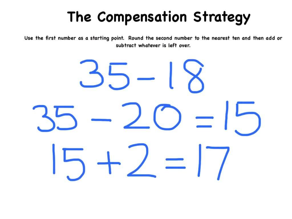 The Compensation Strategy For Subtraction Mental Math Strategies Math Methods Math Strategies [ 768 x 1024 Pixel ]