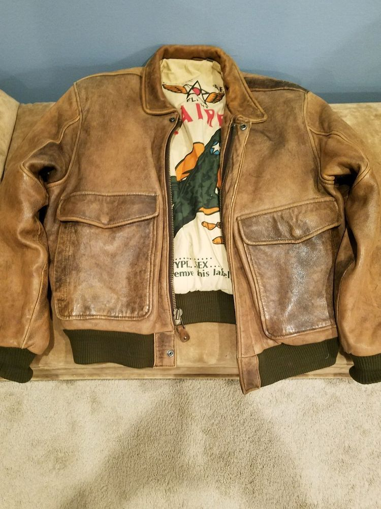 e52aae8a8 Details about VINTAGE JACKET MENS REAL LEATHER FLIGHT BOMBER BARGAIN ...
