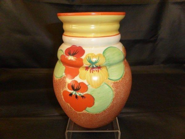 Clarice Cliff Nasturtium 358 Shape Vase In Pottery Porcelain