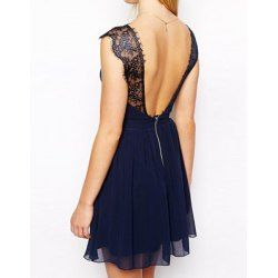 Trendy Style Sleeveless Lace Splicing Solid Color Backless Dress For Women