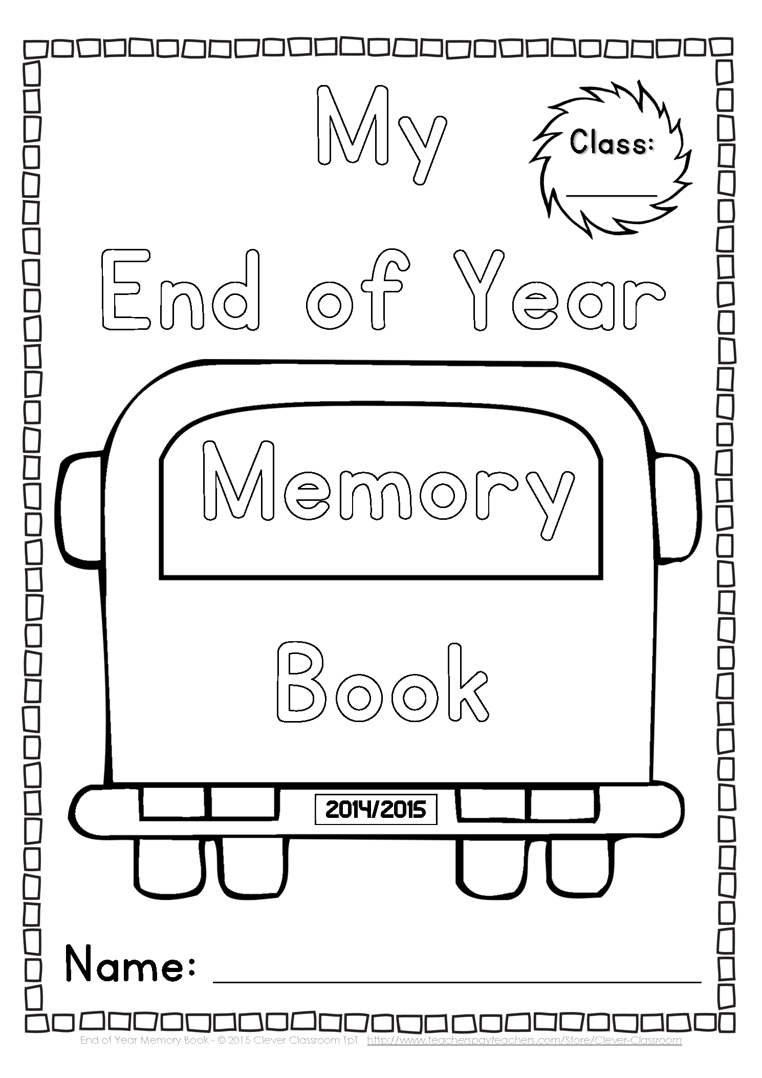 End Of Year Memory Book And Activities Kindergarten Grade