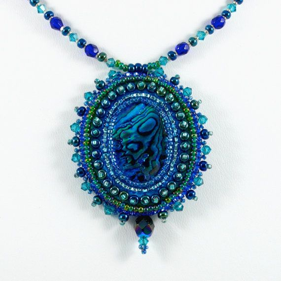 Paua Shell Bead Embroidered Pendant Deep by KateTractonDesigns, $85.00
