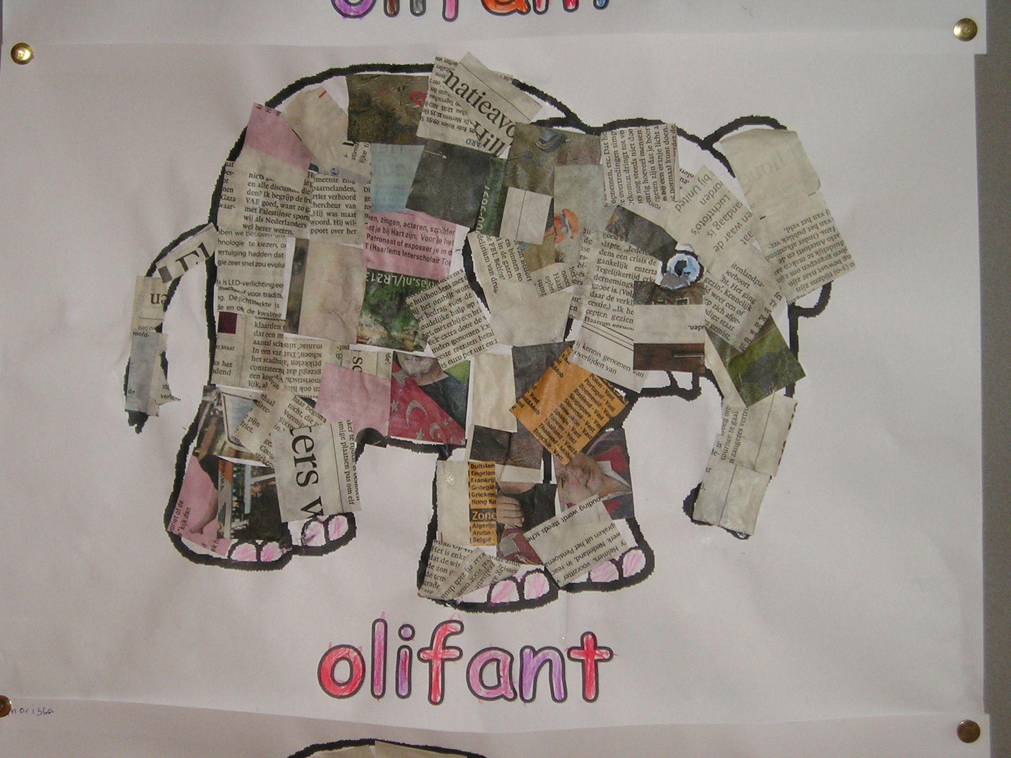 Kleurplaat Van Olifant Beplakken Met Stukjes Krantenpapier Olifant Wilde Dieren Dieren