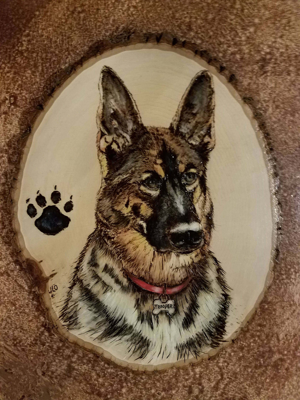 Wood Burned Pet Portrait / German Shepherd by JulesPaints