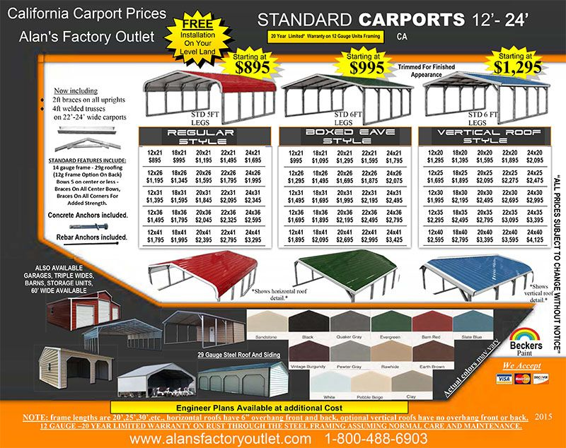 California Carport Prices Metal Carports Price List In Ca In 2020 Metal Carports Carport Prices Carport