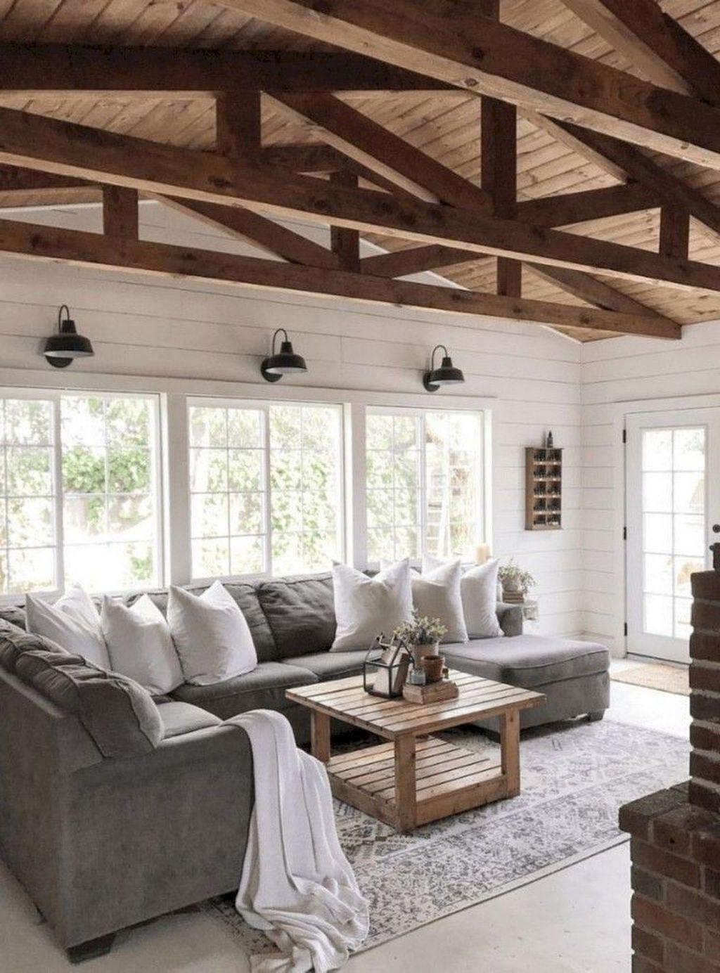 Nice 20 Modern Chic Farmhouse Living Room Design Decor Ideas Home ...