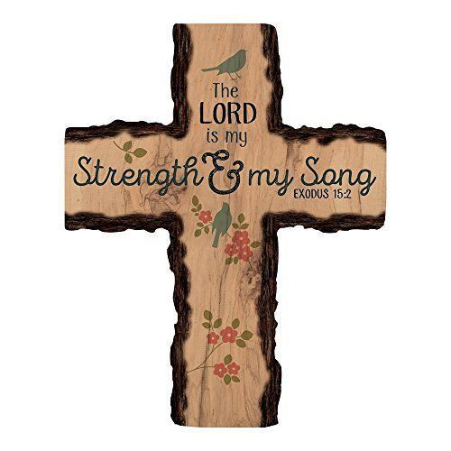 The Lord is My Strength & Song Natural Floral 16 x 13 Wood Wall Art Plaque Cross
