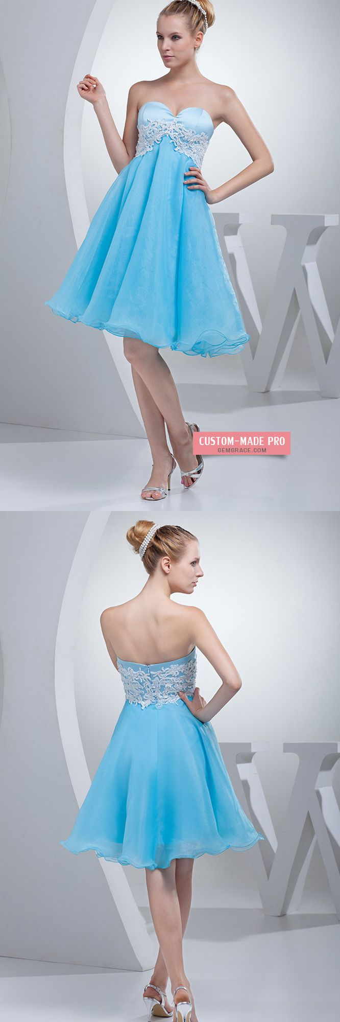 Cute sweetheart aline organza short prom dress op