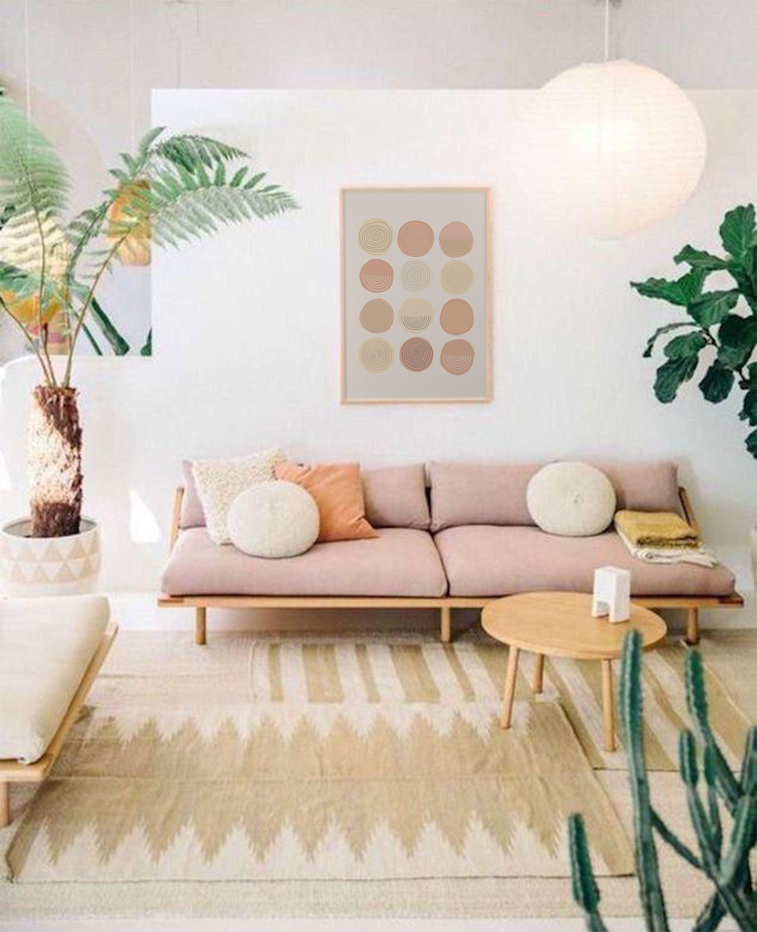 Abstract Circles Print Wall Art Apricot Printable Modern Min