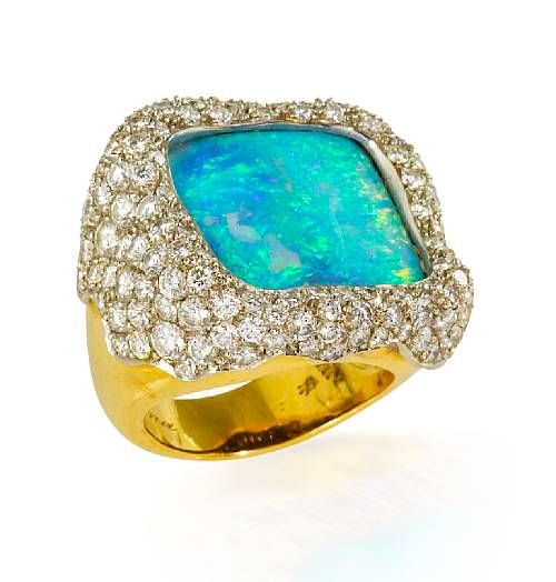 An opal and diamond ring, Andrew Grima