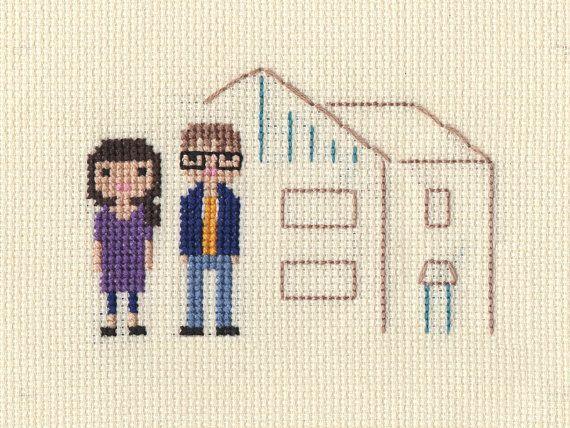 Custom Location Family Portrait - Cross Stitch in Pixel Art Style (Framed) - Grappig kruissteken ...