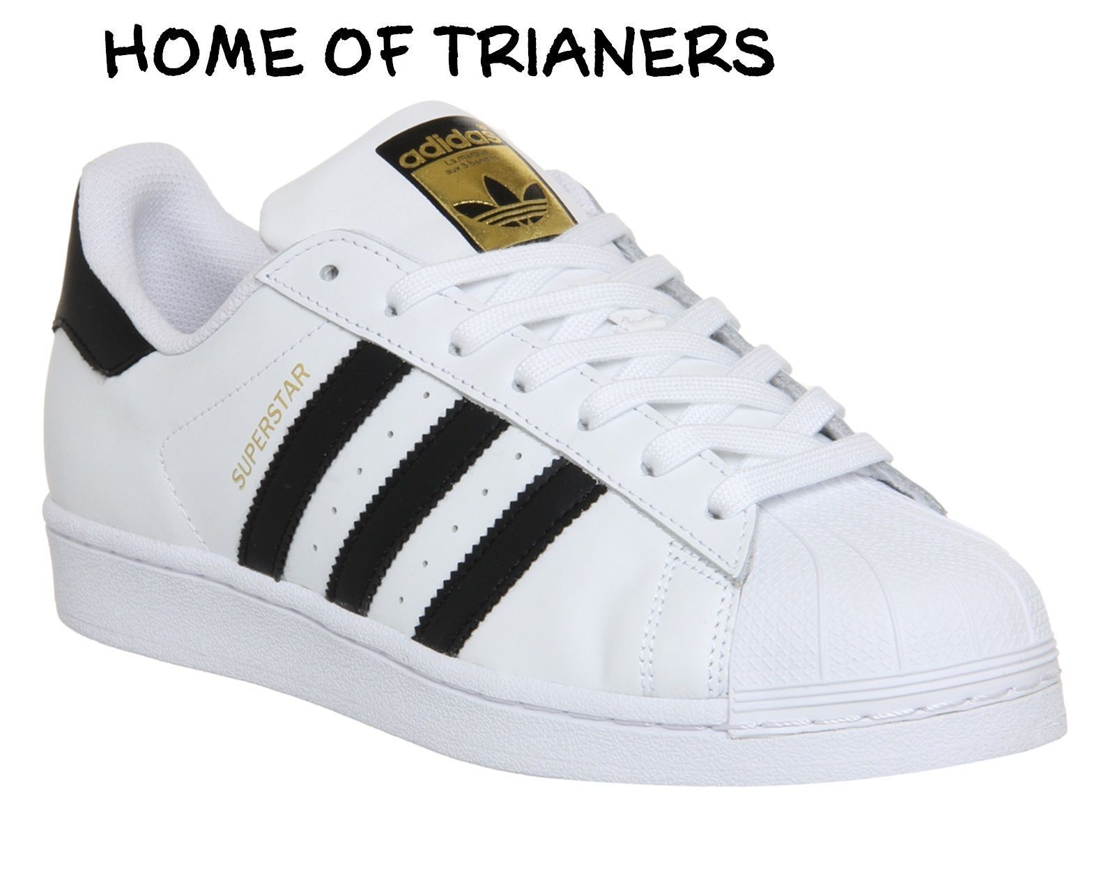 4ae20f0fe839ee Adidas Super Star (Gs) White Black Gold Women Boys Girls Trainers All Sizes