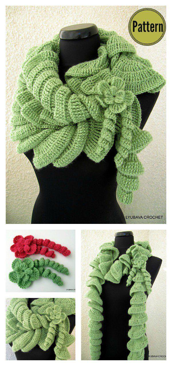 Cascading Ruffles Scarf Crochet Pattern | Schals tücher, Häkeln und ...