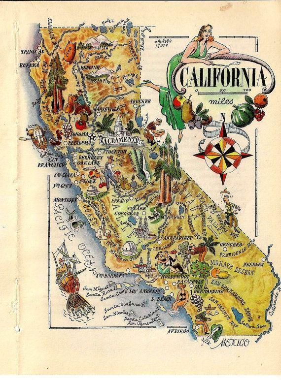 United States Map California Book Art Print Jacques Liozu French