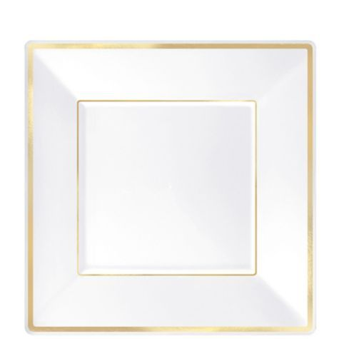 White Gold Trimmed Premium Square Dessert Plates 8ct - Party City