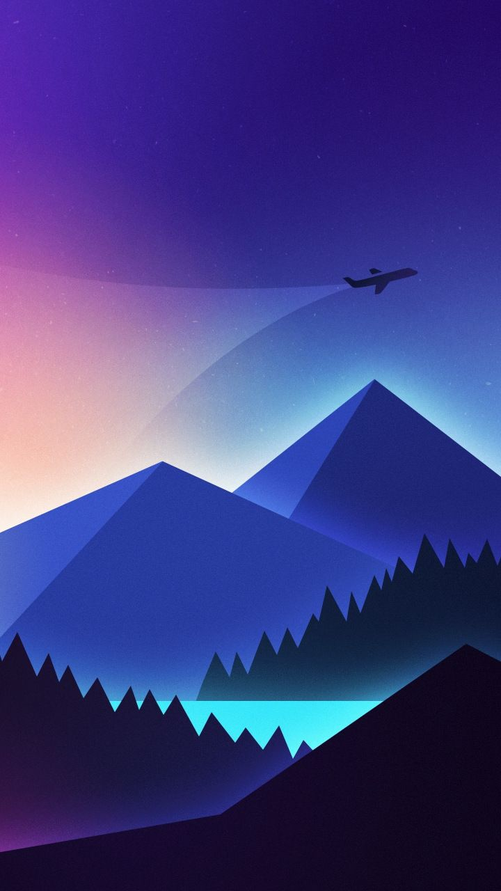 download 720x1280 wallpaper minimalism airplane over mountains