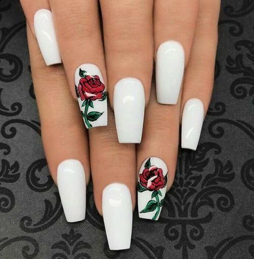 White Nails With Rose Design Nails Nail Nail Art Nail Ideas White