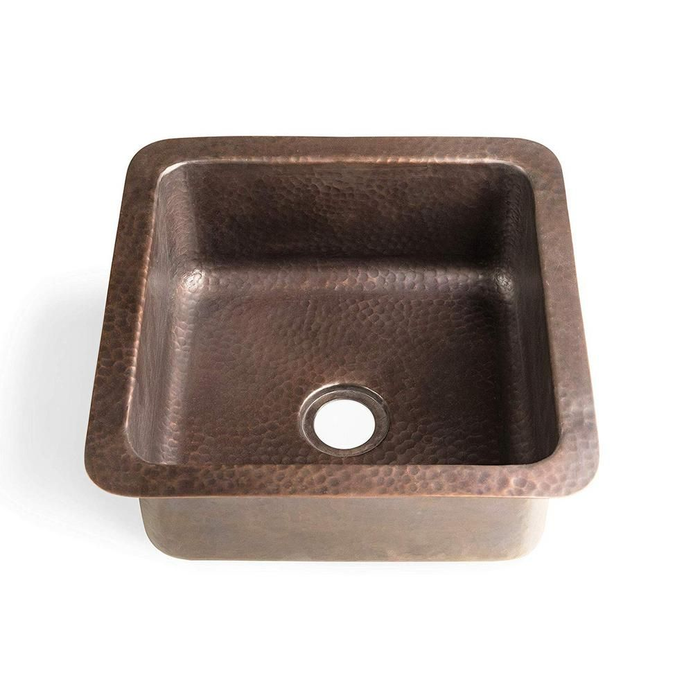 Monarch Abode Monarch Dual Mount Pure Copper Hand Hammered 12 In Glasgow Single Bowl Sink Brown Sink Single Bowl Sink Pure Products