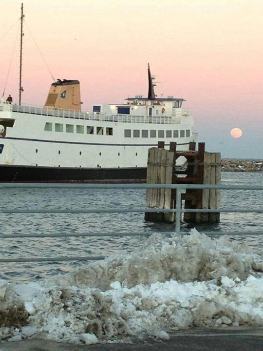 Block Island Ferry In Winter Ocean Beach