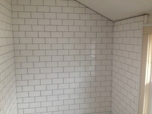 white shower subway tile grey grout Google Search