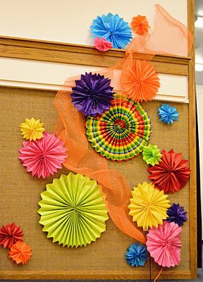 Decorations for a culture fair in a gym.