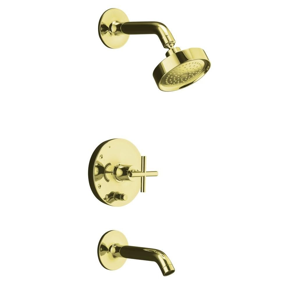 Kohler Rite Temp 1 Spray 1 Handle Pressure Balance Tub And Shower Faucet Trim Kit In Vibrant French Gold Valve Shower Tub Shower Faucet Tub And Shower Faucets