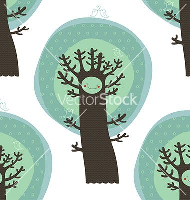 Cute seamless pattern with trees and birds vector by Inoka on VectorStock®