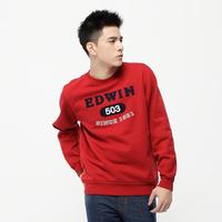 【冬冬搶★全面8折下殺↘】EDWIN 503縫布 圓領T恤-男款 朱紅