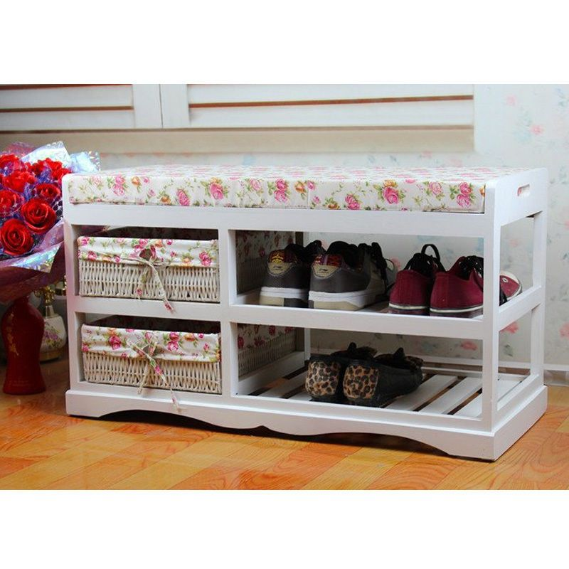 Wooden Seat Bench Shoes Storage Rack Cabinet Closet Organiser