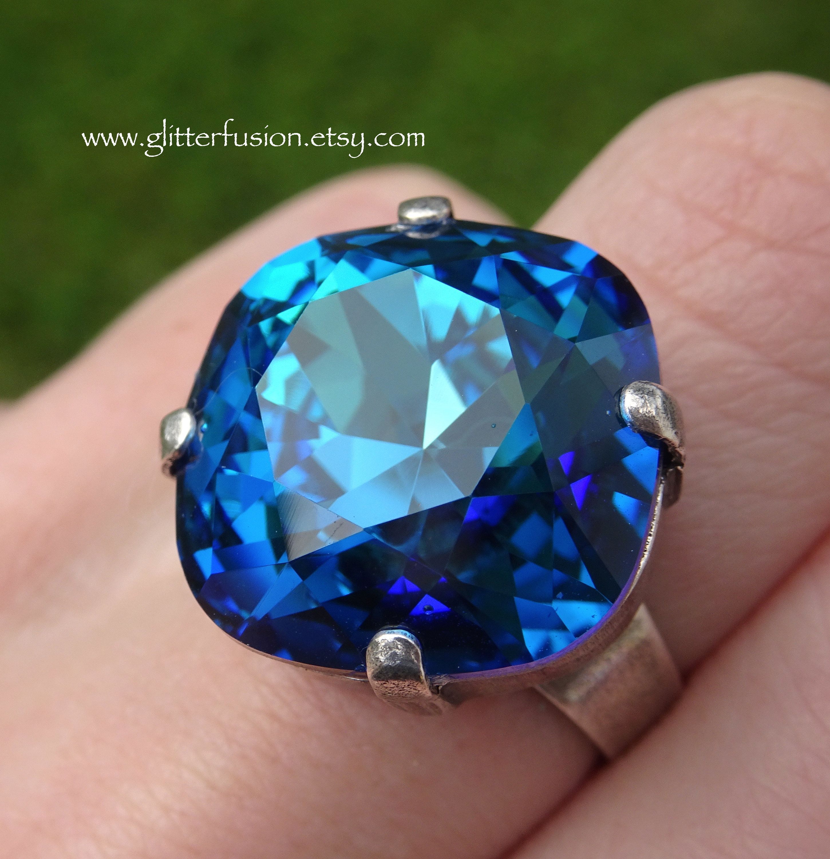 3f102527c11ca Bermuda Blue Swarovski Crystal Cushion Cut Statement Ring, Big 18mm ...